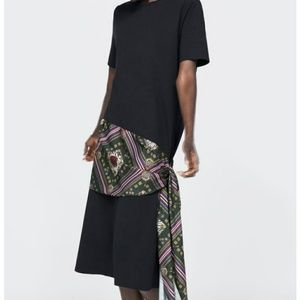 Zara black midi dress with knot side silk Fabric